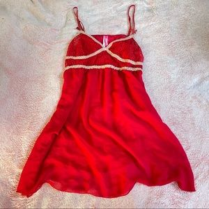 Sultry Red Flowy Nightgown